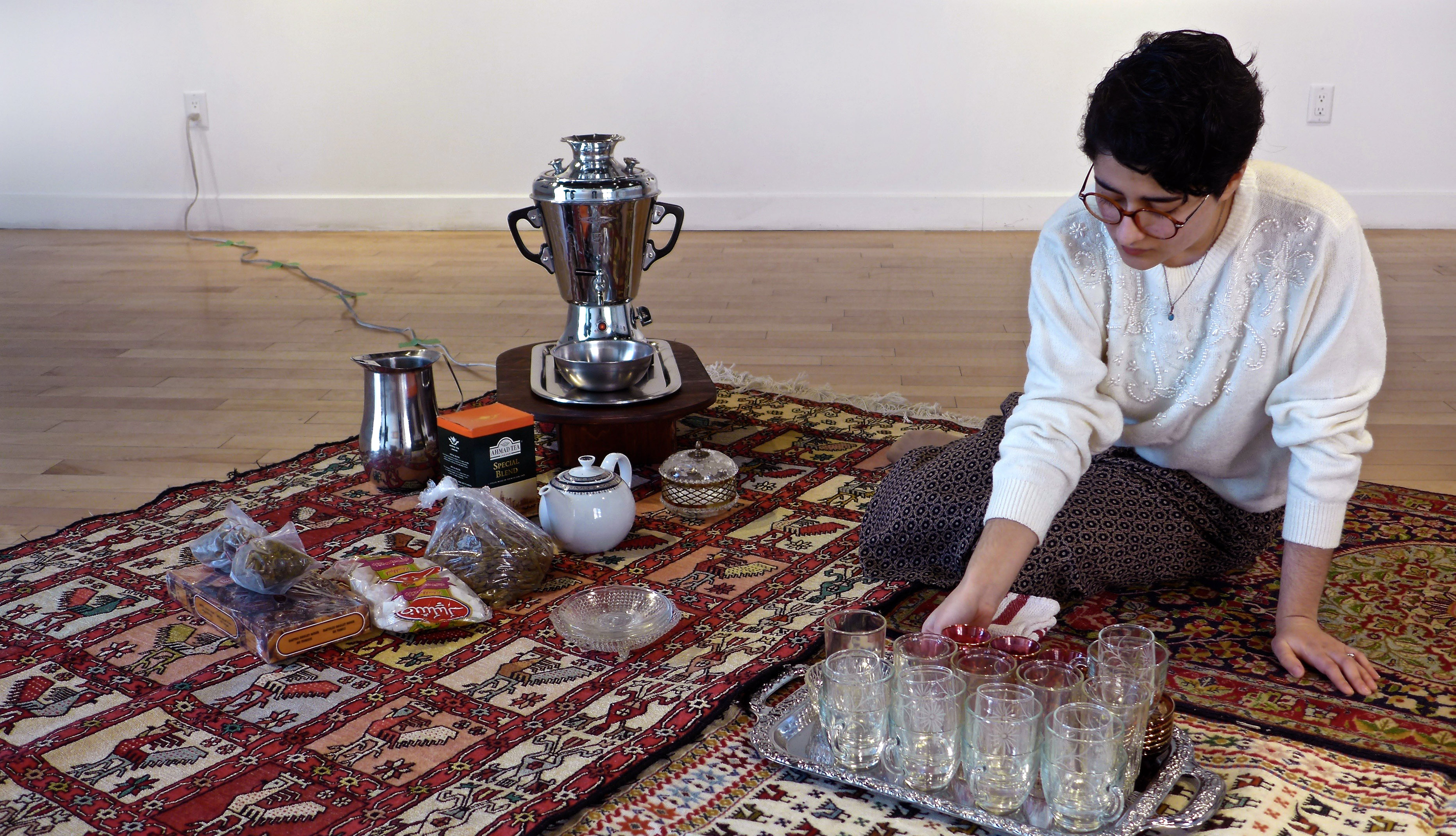 My mother doesn't drink tea anymore, 2016. Installation and performance. Image credit: Herb Fodor.