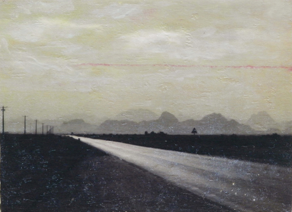 Road I, 2014. Acrylic and gel transfer on wood panel