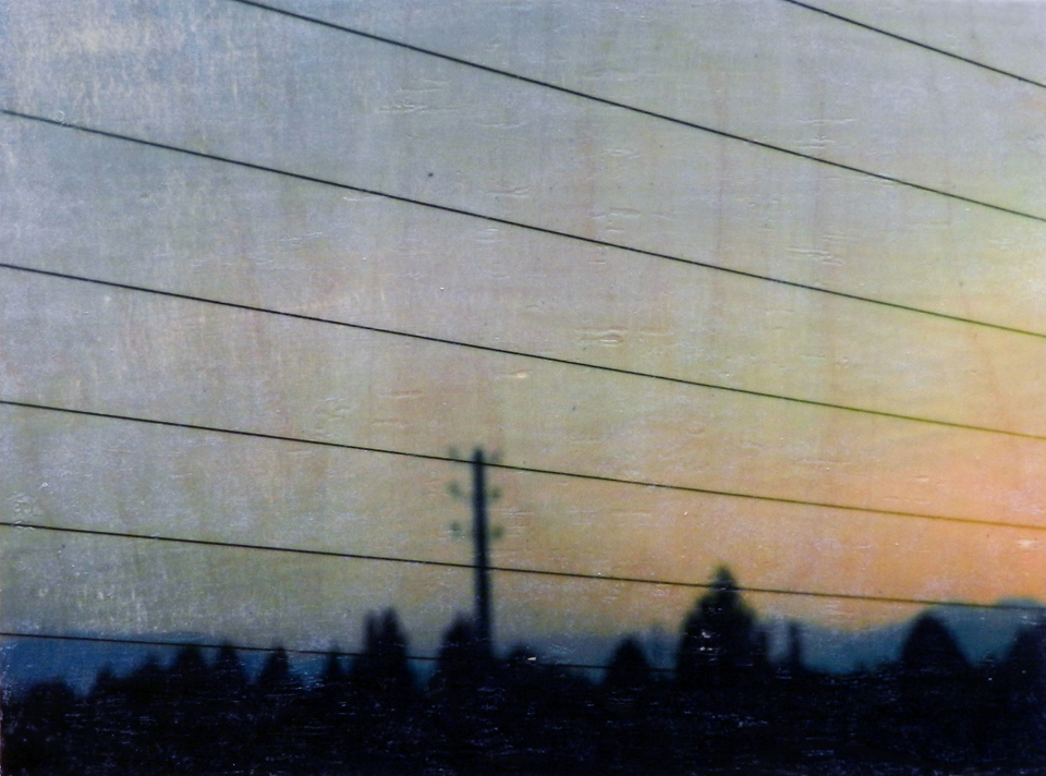 Sunrise Tehran, 2014, Watercolour and gel transfer on wood panel